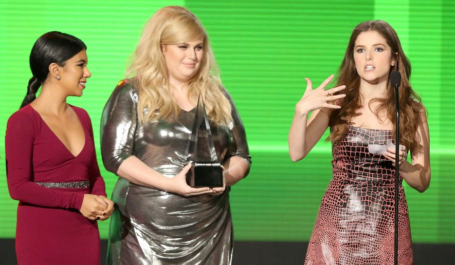 """FILE - In this Nov. 22, 2015, file photo, from left, Chrissie Fit, Rebel Wilson, and Anna Kendrick, from the cast of """"Pitch Perfect 2,"""" accept the award for top soundtrack at the American Music Awards at the Microsoft Theater in Los Angeles. Step Up All In"""" director Trish Sie is stepping up to direct """"Pitch Perfect 3."""" Producer and """"Pitch Perfect 2"""" director Elizabeth Banks tweeted the news Thursday, Sept. 1, 2016. Kendrick and Wilson will reprise their roles in """"Pitch Perfect 3,"""" which Universal Pictures has slated for release in December 2017. (Photo by Matt Sayles/Invision/AP, File)"""