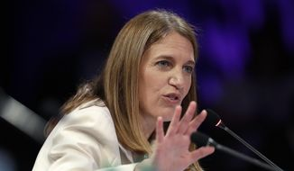 Health and Human Services Secretary Sylvia Mathews Burwell speaks during a session about opioids at the National Governors Association meeting in Des Moines, Iowa, on July 15, 2016. (Associated Press) **FILE**