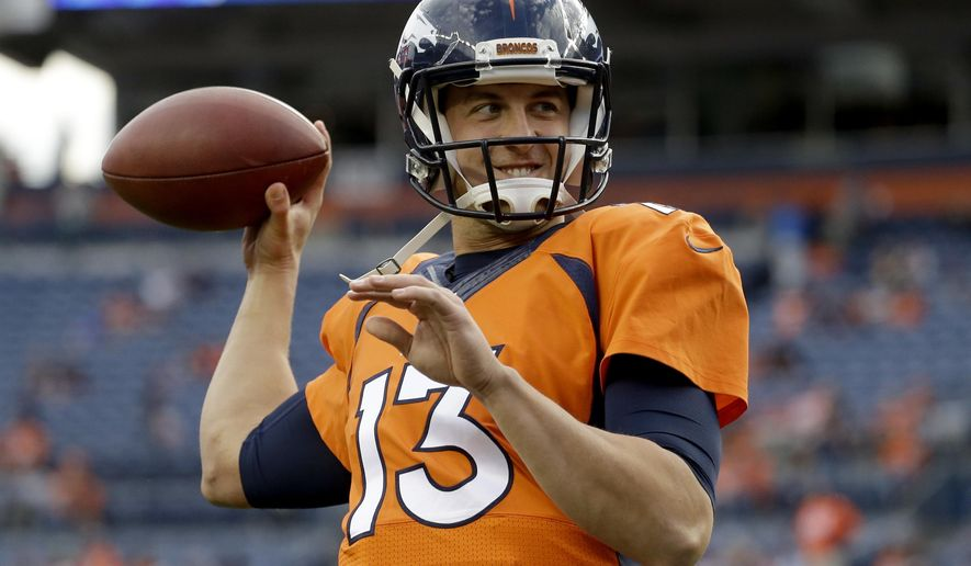 FILE - In this Aug. 27, 2016, file photo, Denver Broncos quarterback Trevor Siemian (13) warms up prior to an NFL preseason football game against the Los Angeles Rams, in Denver. Offseason workouts, training camp and preseason games are supposed to supply answers for the 32 NFL teams. Sometimes, they do. More often, the questions remain when the real stuff kicks off. Every team has one _ yes, even the Broncos figured out who will take the snaps Peyton Manning hoarded so well the last for years. And you heard right, it is Trevor Siemian. (AP Photo/Jack Dempsey, File)