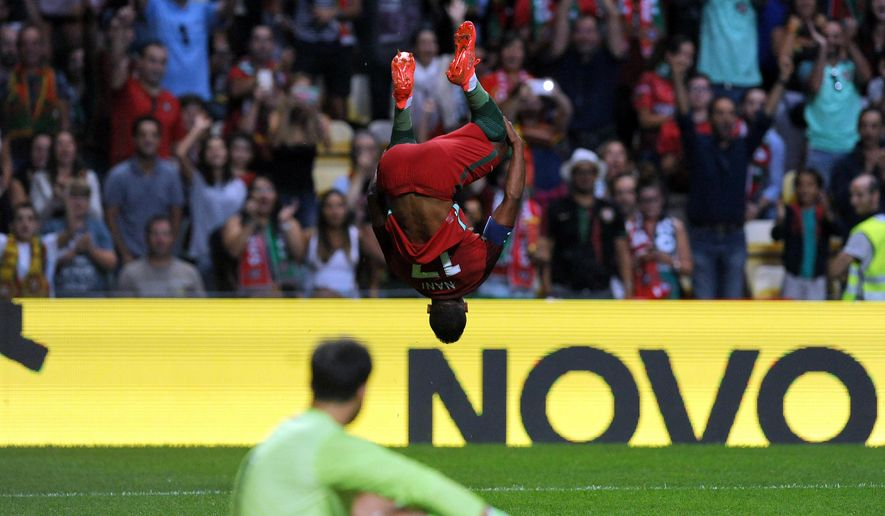 Portugal's Nani celebrates after scoring during a friendly soccer match between Portugal and Gibraltar in Porto, Portugal, Thursday, Sept. 1, 2016. (AP Photo/Paulo Duarte)
