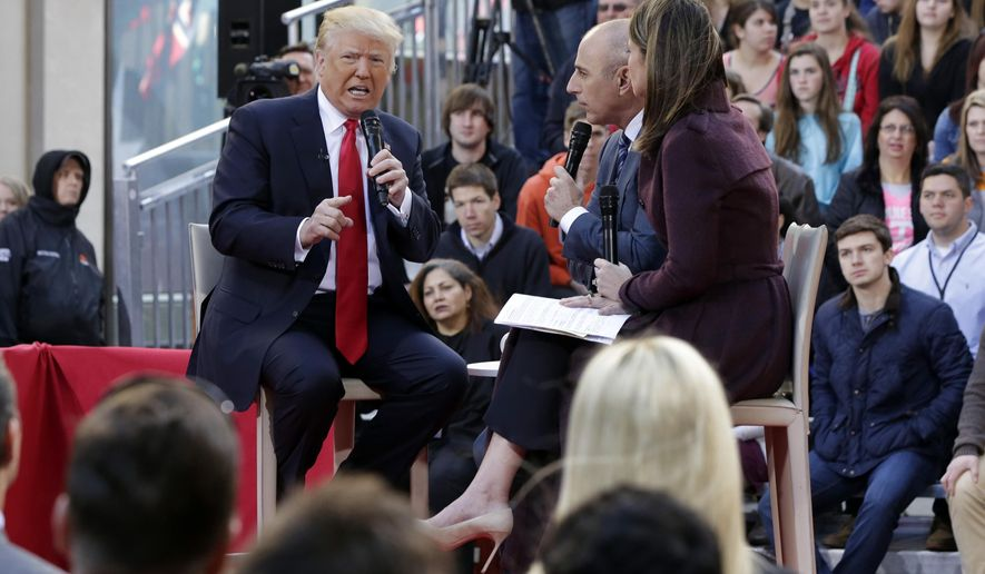 """FILE - In this April 21, 2016 file photo, Republican presidential candidate Donald Trump, left, is interviewed by co-hosts Matt Lauer and Savannah Guthrie on the NBC """"Today"""" television program, in New York. With the traditional Labor Day marker that start presidential campaigns in earnest, television outlets are getting ready to ride the momentum. NBC News announced Thursday, Sept. 1 that Lauer will moderate the """"Commander-in-Chief Forum"""" next Wednesday at the city's Intrepid Sea, Air & Space Museum. Both Hillary Clinton and Donald Trump will appear separately to answer national security questions before an audience of veterans and service members.  (AP Photo/Richard Drew, File)"""