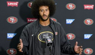 San Francisco 49ers quarterback Colin Kaepernick talks to the media at a news conference an NFL preseason football game against the San Diego Chargers Thursday, Sept. 1, 2016, in San Diego. (AP Photo/Denis Poroy)