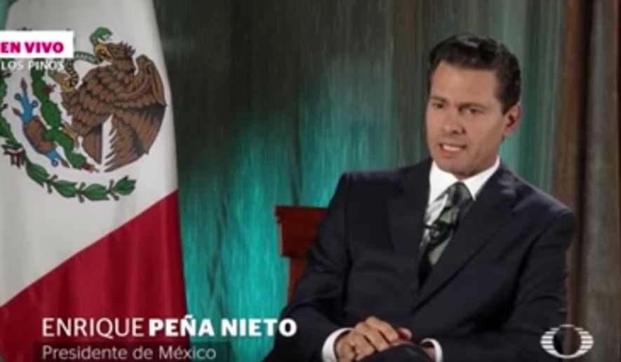 Mexican President Enrique Pena Nieto speaks in Spanish with Televisa interviewer Denise Maerker on Thursday, Sept. 1, 2016. (Screen grab from https://www.facebook.com/NoticierosTelevisacom/app/212104595551052/