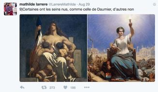 "A French professor tweets at Prime Minister Manuel Valls about the bare bare breasts of Marianne, which symbolizes the Republic. ""Some have bare breasts, like that of Daumier, others do not,"" she wrote Aug. 29, 2016."" (Twitter, Mathilde Larrere)"