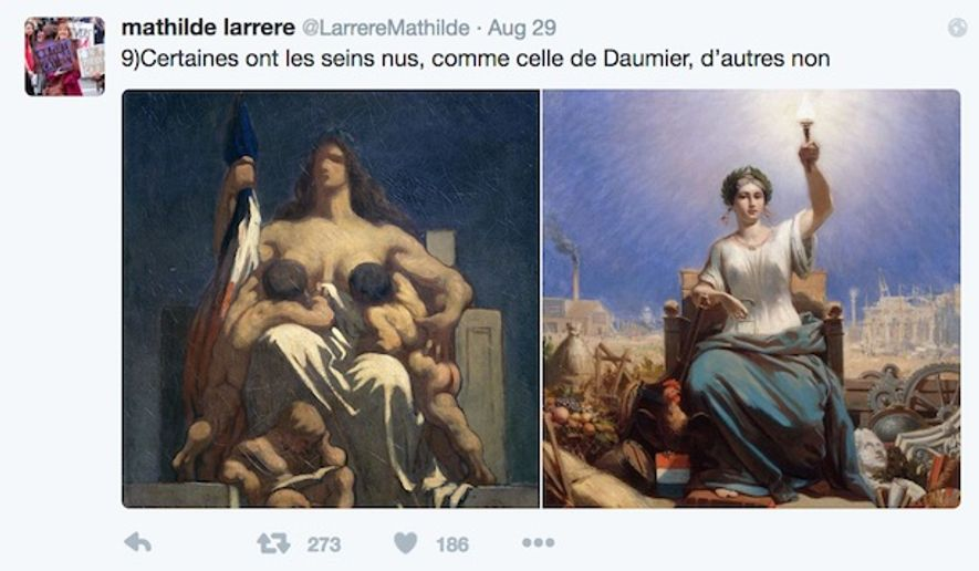 """A French professor tweets at Prime Minister Manuel Valls about the bare bare breasts of Marianne, which symbolizes the Republic. """"Some have bare breasts, like that of Daumier, others do not,"""" she wrote Aug. 29, 2016."""" (Twitter, Mathilde Larrere)"""