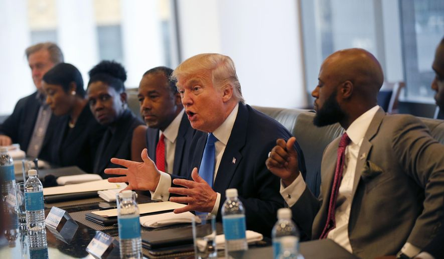 In this Aug. 25, 2016, file photo, Republican presidential candidate Donald Trump holds a roundtable meeting with the Republican Leadership Initiative in his offices at Trump Tower in New York. Dr. Ben Carson is seated next to Trump at center. In the decades since the Voting Rights Act of 1965 widely enfranchised African-Americans, they have become a reliable Democratic bloc. (AP Photo/Gerald Herbert, File)