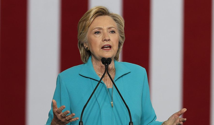 In this Aug. 25, 2016, file photo, Democratic presidential nominee Hillary Clinton speaks in Reno, Nev. (AP Photo/Carolyn Kaster, File)