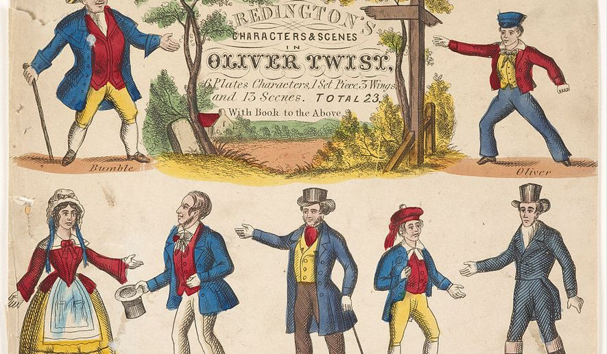 Oliver Twist toy theatre sheet, in the public domain via Wikimedia Commons [https://upload.wikimedia.org/wikipedia/en/thumb/a/a5/Redington%2C_John_-_toy_theatre_sheet_-_Oliver_Twist_-_Google_Art_Project_%28539174%29.jpg/981px-Redington%2C_John_-_toy_theatre_sheet_-_Oliver_Twist_-_Google_Art_Project_%28539174%29.jpg]