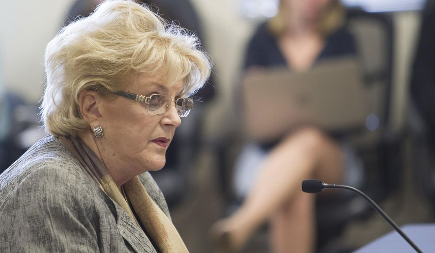 Las Vegas Mayor Carolyn Goodman speaks during a public hearing on the regulations needed to overhaul Clark County School District at the Nevada Department of Education's boardroom in Las Vegas, Thursday, Sept. 1, 2016. The Nevada Board of Education has voted unanimously in favor of a dramatic plan to shift the balance of power from a central office to the more than 300 schools in the Clark County School District. (Richard Brian/Las Vegas Review-Journal via AP)