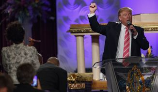 Republican presidential candidate Donald Trump speaks during a church service at Great Faith Ministries, Saturday, Sept. 3, 2016, in Detroit. (AP Photo/Evan Vucci)