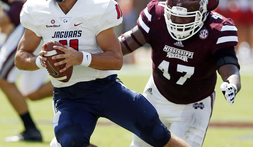 South Alabama quarterback Dallas Davis (11) is sacked by Mississippi State defensive lineman A.J. Jefferson (47) in the first half of an NCAA college football game in Starkville, Miss., Saturday, Sept. 3, 2016. (AP Photo/Rogelio V. Solis)