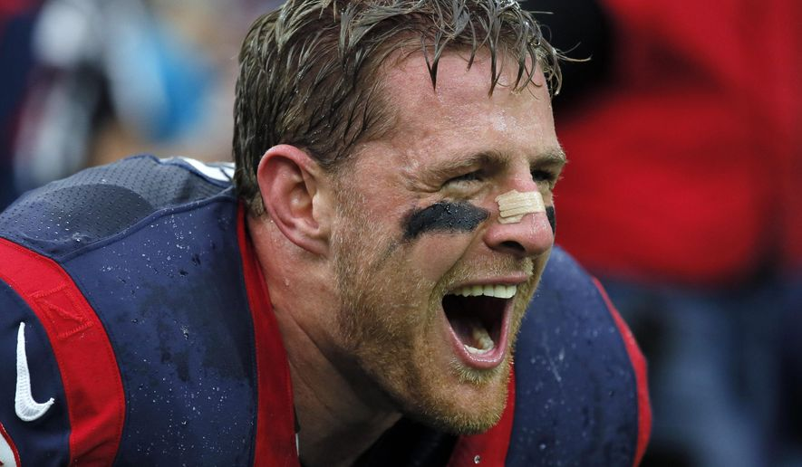 FILE - In this Jan. 9, 2016, file photo, Houston Texans defensive end J.J. Watt (99) shouts before an NFL football game against the Kansas City Chiefs in Houston. The  Texans activated Watt from the physically unable to perform list Saturday, Sept. 3, 2016, and waived 18 players. Watt, a three-time NFL Defensive Player of the Year, missed the entire preseason after having back surgery in July. He has started every game in his five-year career.  (AP Photo/Tony Gutierrez, File)