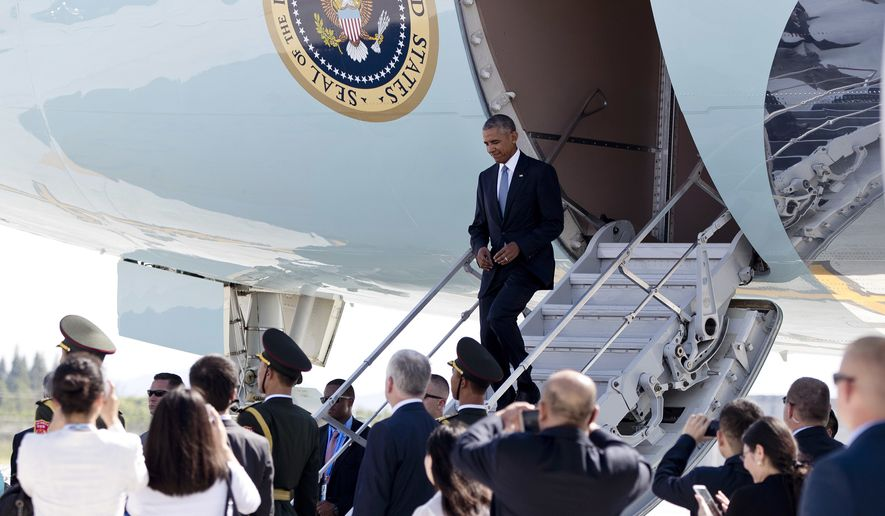 President Obama arrives at Hangzhou Xiaoshan International Airport in Hangzhou, China, on Saturday. (Associated Press)