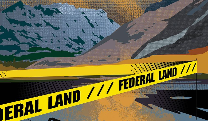 """Illustration on Federal taking of """"public lands"""" by Linas Garsys/The Washington Times"""