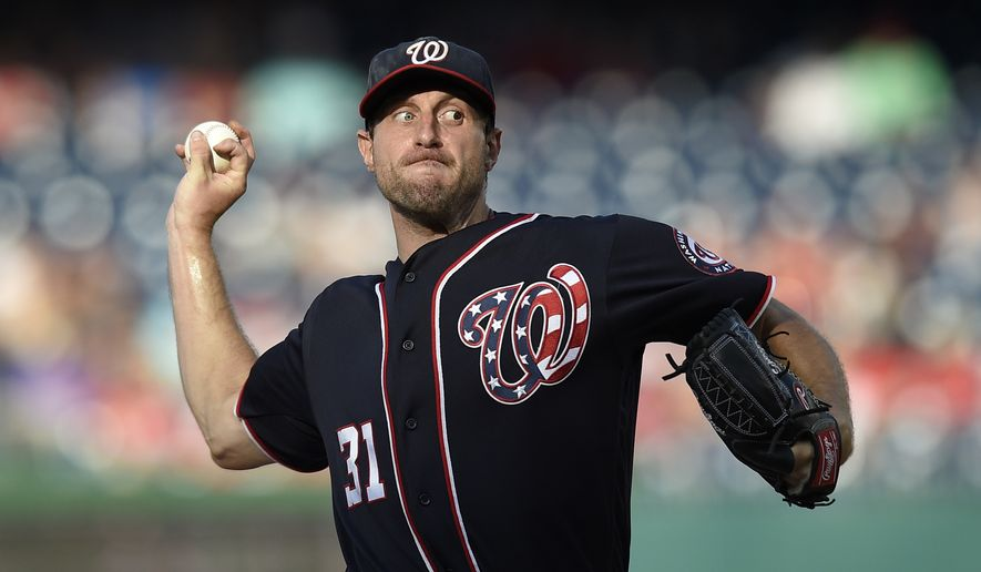 Washington Nationals starting pitcher Max Scherzer delivers a pitch during the fifth inning of a baseball game against the Atlanta Braves, Monday, Sept. 5, 2016, in Washington. The Nationals won 6-4. (AP Photo/Nick Wass)