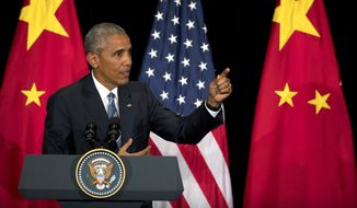 U.S. President Barack Obama speaks during a press conference after the conclusion of the G-20 Summit in Hangzhou in eastern China's Zhejiang Province, Monday, Sept. 5, 2016. (AP Photo/Mark Schiefelbein)