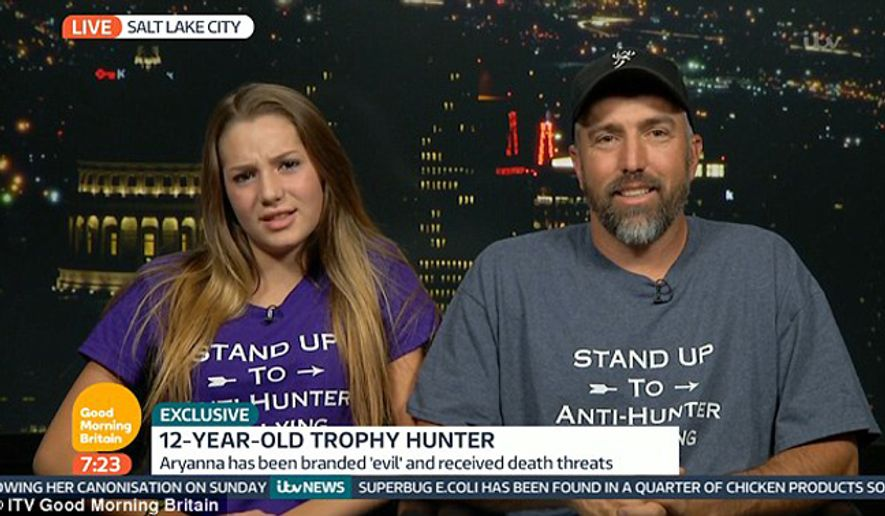 """In an appearance on """"Good Morning Britain,"""" Aryanna Gourdin of Utah was asked about going hunting, including on African safaris, and posting on her Facebook page pictures of her with some of the slain animals, which include a giraffe and a zebra. (Good Morning Britain)"""