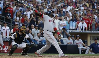 Boston Red Sox's David Ortiz flies out during the ninth inning of a baseball game against the San Diego Padres Monday, Sept. 5, 2016, in San Diego. The Padres won 2-1. (AP Photo/Lenny Ignelzi)