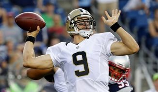 FILE - In this Aug. 11, 2016, file photo, New Orleans Saints quarterback Drew Brees passes during the first half of a preseason NFL football game against the New England Patriots in Foxborough, Mass. At 37, Brees skills do not appear diminished; he led the NFL in yards passing last season. He also is highly motivated because he is entering the final season of his contract. (AP Photo/Winslow Townson, File)