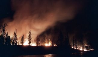 FILE - In this Sept. 2, 1988, file photo, a forest fire blazes out of control near West Yellowstone in Yellowstone National Park, Mont. Fire managers in Yellowstone National Park are curious to find out why wildfires are burning so actively in the summer of 2016, in areas that burned back in 1988. The park has called in a special federal team that studies fire behavior. (AP Photo/Tannen Maury, File)