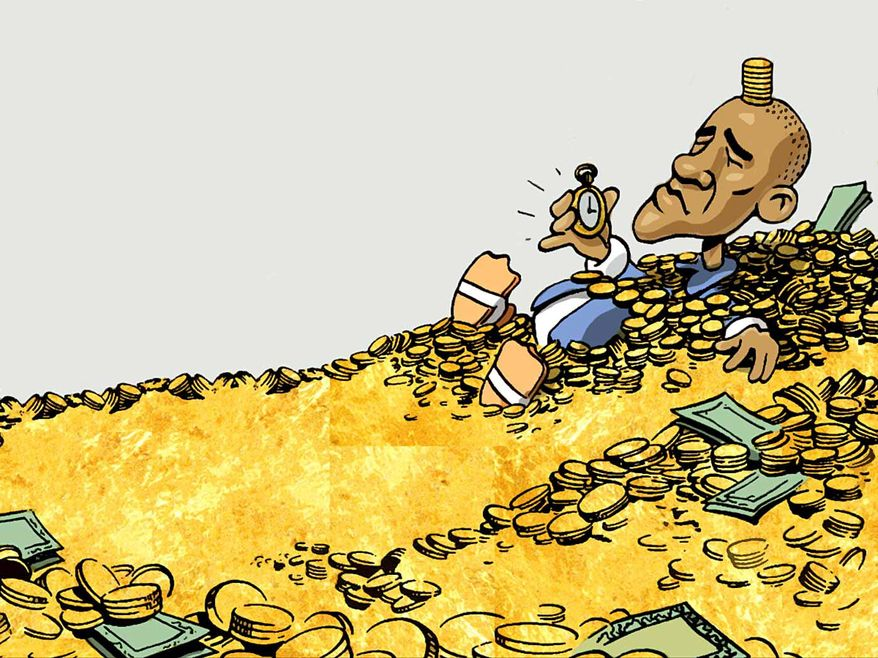 Illustration on Obama's post-presidential wealth by Alexander Hunter/The Washington Times