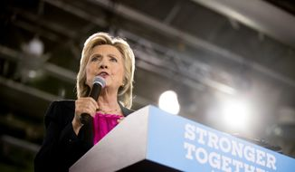 Democratic presidential candidate Hillary Clinton speaks at a rally at University of South Florida in Tampa, Tuesday, Sept. 6, 2016. (AP Photo/Andrew Harnik)