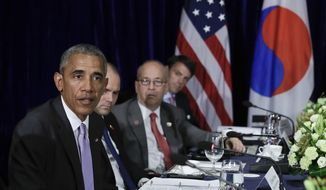 U.S. President Barack Obama speak to the media at the conclusion of a bilateral meeting with South Korean President Park Geun-hye in Vientiane, Laos, Tuesday, Sept. 6, 2016. (AP Photo/Carolyn Kaster)