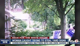 An Indiana homeowner has booby trapped his pro-Donald Trump yard signs to trip up would-be thieves. (RTV6)