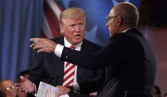 Republican presidential candidate Donald Trump speaks with 'Today' show co-anchor Matt Lauer at the NBC Commander-In-Chief Forum held at the Intrepid Sea, Air and Space museum aboard the decommissioned aircraft carrier Intrepid, New York, Wednesday, Sept. 7, 2016. (AP Photo/Evan Vucci) ** FILE **