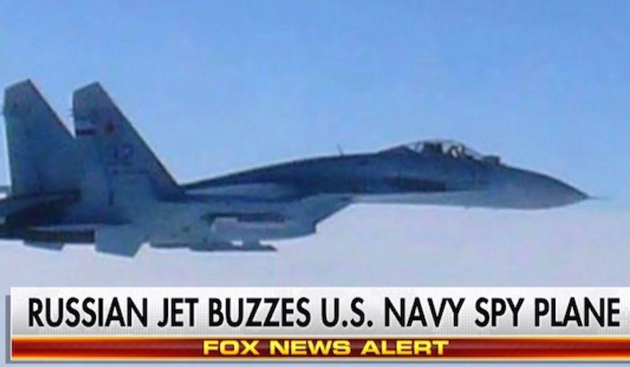 A Russian Su-27 Flanker jet buzzed a U.S. U.S. Navy P-8 Poseidon reconnaissance aircraft on Wednesday, Sept. 7, 2016, in the Black Sea. (Fox News screenshot)
