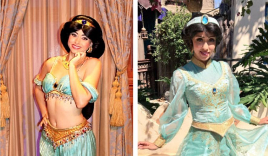 The Princess Jasmine character costume at Disney theme parks and cruises has shifted from the midriff-bearing model shown at left to the more modest, long-sleeved one shown at right. Image via Twitter account of @wdwmickeyhunter (https://twitter.com/wdwmickeyhunter/status/772561036264091648/photo/1?ref_src=twsrc%5Etfw)