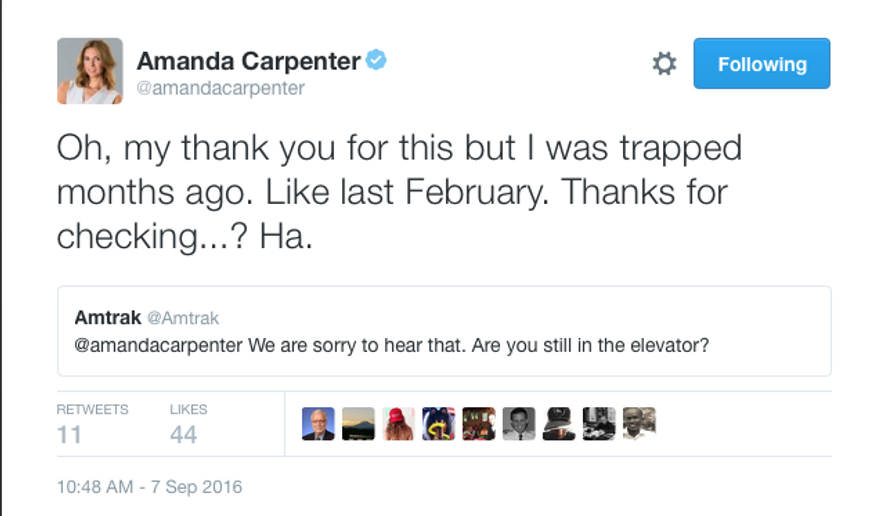 Screen capture from Twitter account of CNN contributor Amanda Carpenter. Amtrak replied to a Feb. 14, 2016 tweet about her being stuck in a station elevator nearly 7 months later, on Sept. 7, 2016.