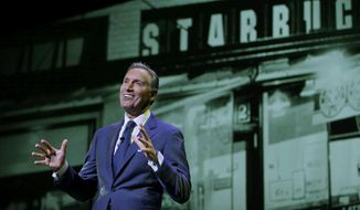 In this Wednesday, March 23, 2016, file photo, Starbucks CEO Howard Schultz speaks at the coffee company's annual shareholders meeting in Seattle. (AP Photo/Ted S. Warren, File)