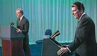 1980 Presidential Candidate Debate between Ronald Reagan and President Jimmy Carter on 10/28/80. (Video image from Ronald Reagan Presidential Library)