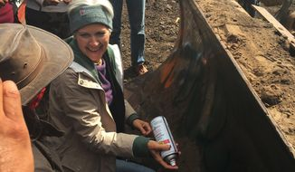 "In this Tuesday, Sept. 6, 2016 photo, Green Party presidential candidate Jill Stein prepares to spray-paint ""I approve this message"" in red paint on the blade of a bulldozer at a protest against the Dakota Access Pipeline in the area of Morton County, N.D. Morton County Sheriff Kyle Kirchmeier said Tuesday that authorities plan to pursue charges against Stein. (Alicia Ewen/KX News via AP)"
