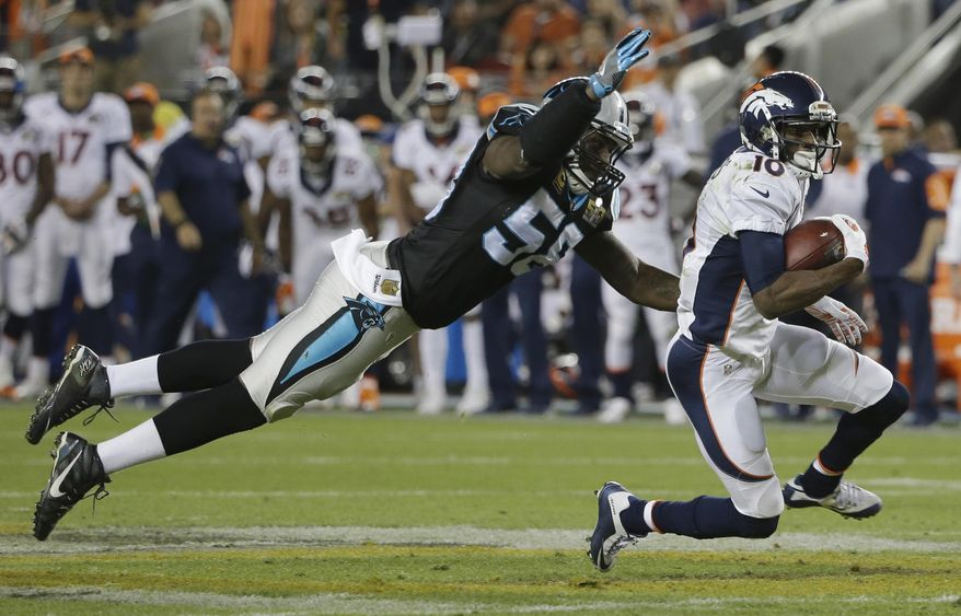 FILE - In this Feb. 7, 2016, file photo, Carolina Panthers' Thomas Davis (58) dives for Denver Broncos' Emmanuel Sanders (10) during the second half of the NFL Super Bowl 50 football game, in Santa Clara, Calif. Panthers linebacker Thomas Davis, entering his 13th season, said his goal is to get team owner Jerry Richardson a Super Bowl ring. (AP Photo/Marcio Jose Sanchez, File)