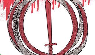Illustration on the Iran/Al Qaeda connection by Linas Garsys/The Washington Times