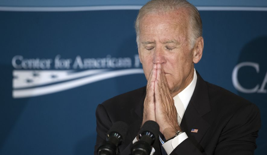 Vice President Joe Biden pauses pauses while speaking atthe Center for American Progress' meeting on middle-class economic security, Thursday, Sept. 8, 2016, in Washington. (AP Photo/Cliff Owen)