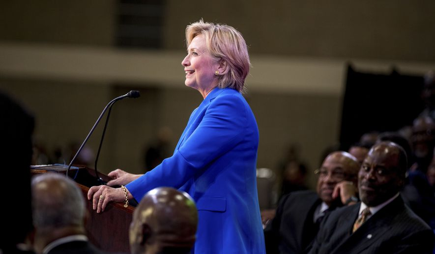 Democratic presidential candidate Hillary Clinton speaks at the 136th Annual National Baptist Convention held at the Kansas City Convention Center, in Kansas City, Mo., Thursday, Sept. 8, 2016. (AP Photo/Andrew Harnik)