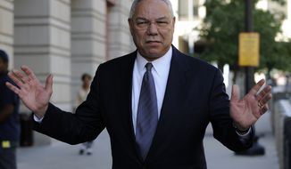 In this Oct. 10, 2008, file photo, former Secretary of State Colin Powell is seen in Washington. Powell is defending himself following the release of a 2009 email exchange with Hillary Clinton, describing his use of a private, dial-up email account to carry out U.S. government business. Powell said in a statement Sept. 8, 2016, he viewed his use of private email to communicate with foreign leaders and U.S. officials as private conversations similar to phone calls. (AP Photo/Susan Walsh, File)