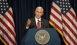 Republican vice presidential candidate, Indiana Gov. Mike Pence speaks at the Reagan Library in Simi Valley, Calif., on Thursday, Sept. 8, 2016. (Ed Crisostomo/The Orange County Register via AP)