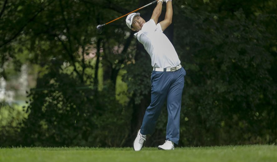 Hideki Matsuyama, of Japan, watches his shot off the second tee during the first round of the BMW Championship golf tournament at Crooked Stick Golf Club in Carmel, Ind., Thursday, Sept. 8, 2016. (AP Photo/AJ Mast)