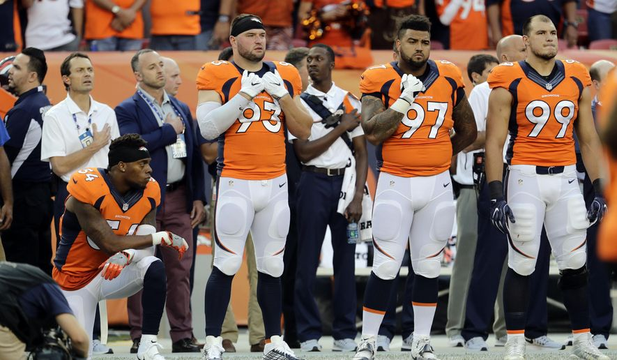 Denver Broncos inside linebacker Brandon Marshall (54) kneels during the National Anthem prior to an NFL football game against the Carolina Panthers, Thursday, Sept. 8, 2016, in Denver. (AP Photo/Joe Mahoney)