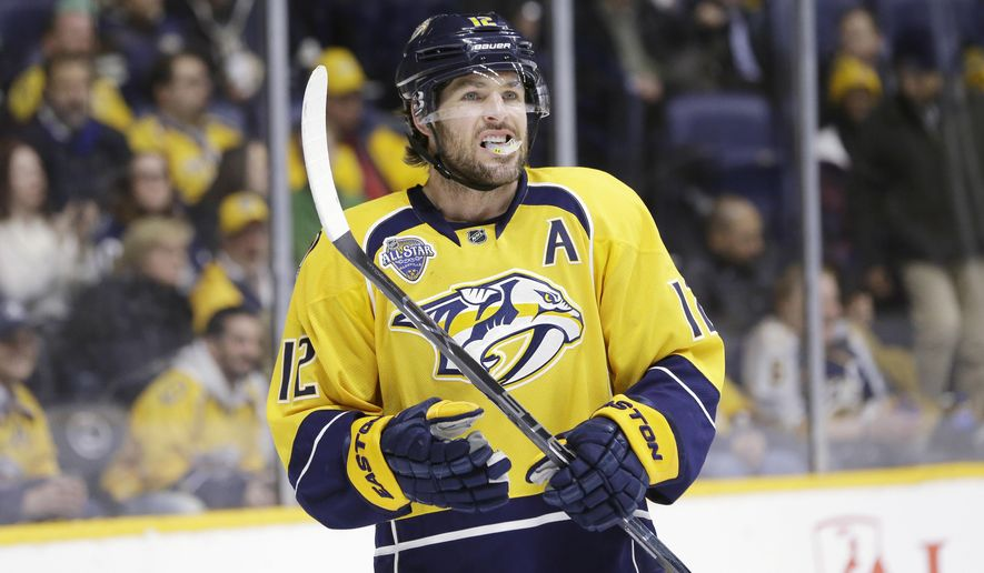 FILE - In this Feb. 15, 2016 file photo, Nashville Predators forward Mike Fisher plays against the Dallas Stars in an NHL hockey game in Nashville, Tenn. Fisher was named captain of the Predators Thursday, Sept. 8, 2916. (AP Photo/Mark Humphrey, File)
