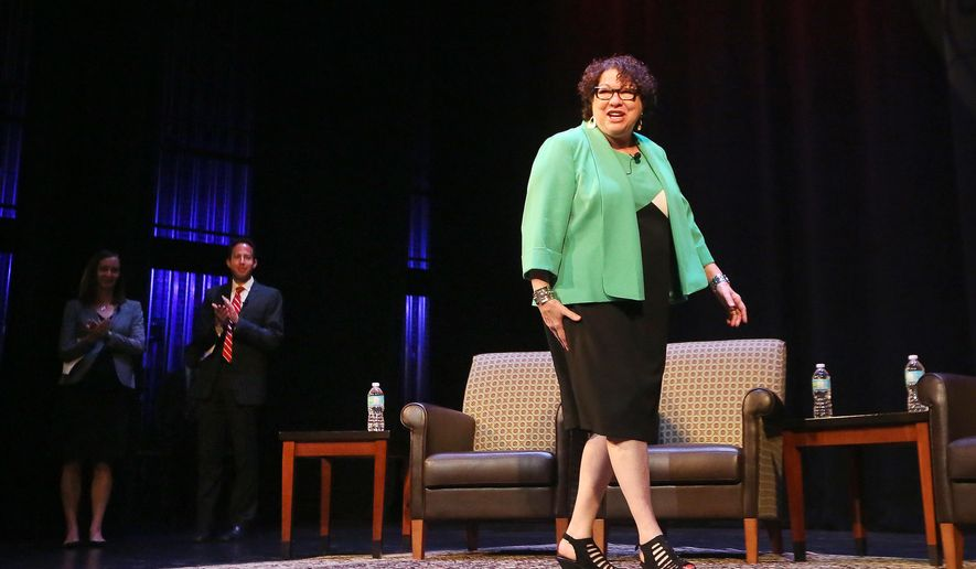 Sonia Sotomayor, associate justice of the U.S. Supreme Court, takes the stage for an appearance at the University of Wisconsin-Madison Memorial Union in Madison, Wis., Thursday, Sept. 8, 2016. Her appearance in the question-and-answer session was presented by the University of Wisconsin Law School as part of their Robert W. Kastenmeier Lecture Series. (John Hart/Wisconsin State Journal via AP)