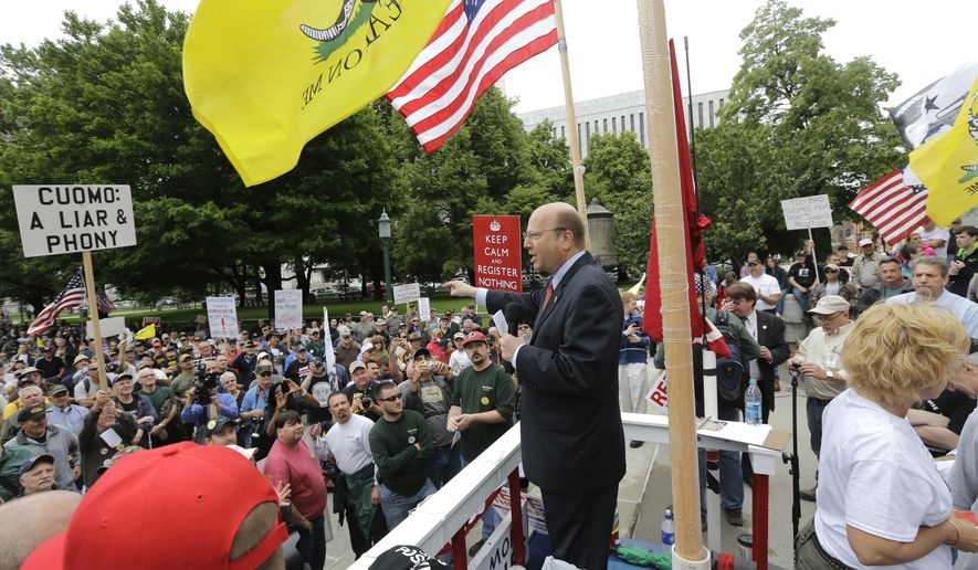 Assemblyman Bill Nojay, R-Lakeville, during a gun-rights rally on Tuesday, June 11, 2013, in Albany, N.Y. (AP Photo/Mike Groll)