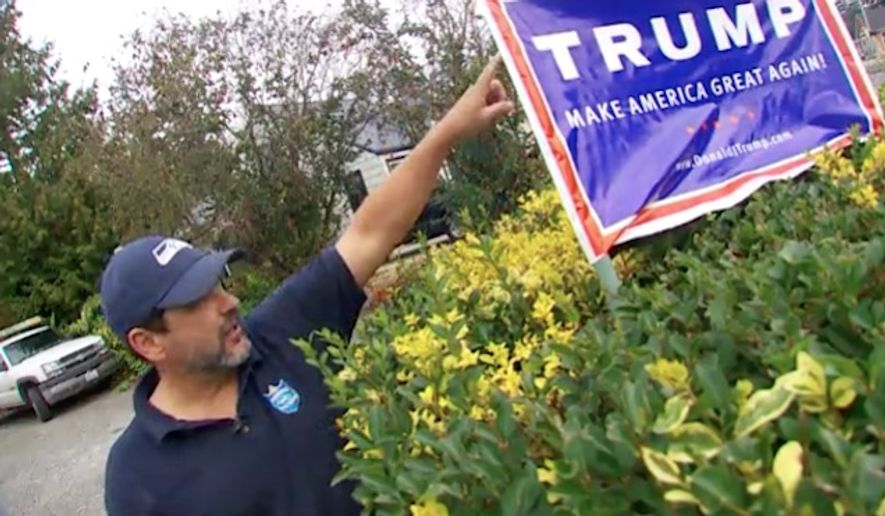 Ray Gilbride of Bellingham, Washington, says his Donald Trump yard signs are now rigged to deliver an electric shock to potential vandals and thieves. (KING)