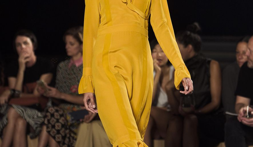 The Thakoon Spring 2017 collection is modeled during Fashion Week in New York, Thursday, Sept. 8, 2016. (AP Photo/Andres Kudacki)