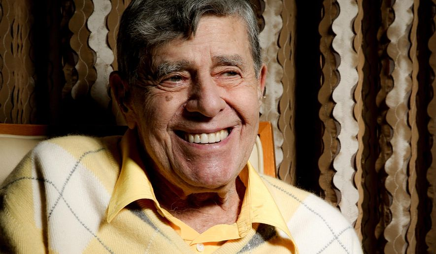 In this Aug. 24, 2016 photo, comedian Jerry Lewis smiles during an interview at the Four Seasons Hotel in Los Angeles. Getting older has been frustrating. At 90, Lewis sometimes loses his train of thought and uses a cane and a wheelchair to get around. But his desire to connect with audiences, and with people, is undiminished. (Photo by Rich Fury/Invision/AP)