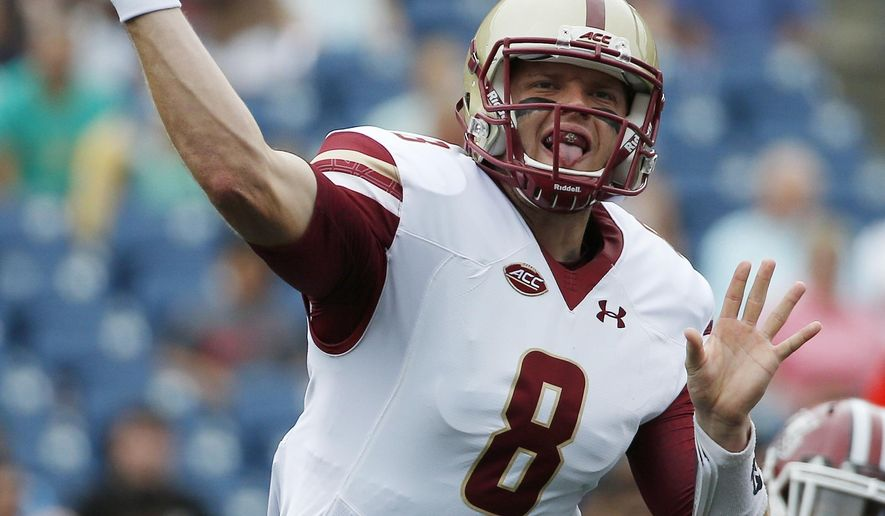 Boston College quarterback Patrick Towles (8) throws a pass during the first quarter of an NCAA college football game against Massachusetts in Foxborough, Mass., Saturday, Sept.10, 2016. (AP Photo/Michael Dwyer)